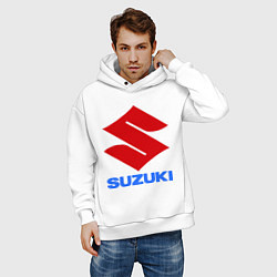 Толстовка оверсайз мужская Suzuki цвета белый — фото 2