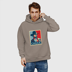 Толстовка оверсайз мужская Chuck Poster цвета утренний латте — фото 2