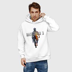 Толстовка оверсайз мужская Battlefield 3 цвета белый — фото 2