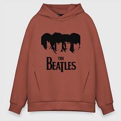 Толстовка оверсайз мужская The Beatles: Faces цвета кирпичный — фото 1