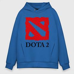 Толстовка оверсайз мужская Dota 2: Logo цвета синий — фото 1