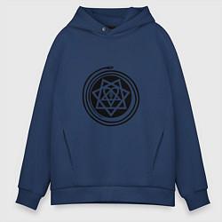 Толстовка оверсайз мужская HIM Pentagram цвета тёмно-синий — фото 1