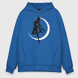 Толстовка оверсайз мужская Луна цвета синий — фото 1