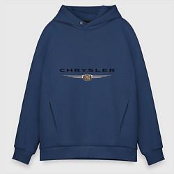 Толстовка оверсайз мужская Chrysler logo цвета тёмно-синий — фото 1