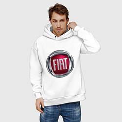Толстовка оверсайз мужская FIAT logo цвета белый — фото 2