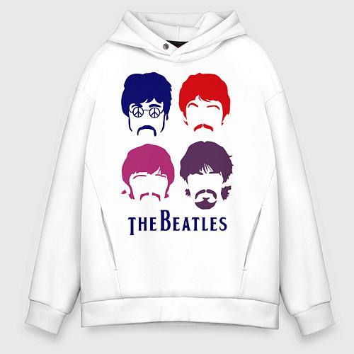 Мужское худи оверсайз The Beatles faces / Белый – фото 1