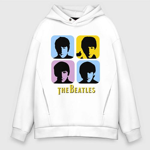 Мужское худи оверсайз The Beatles: pop-art / Белый – фото 1