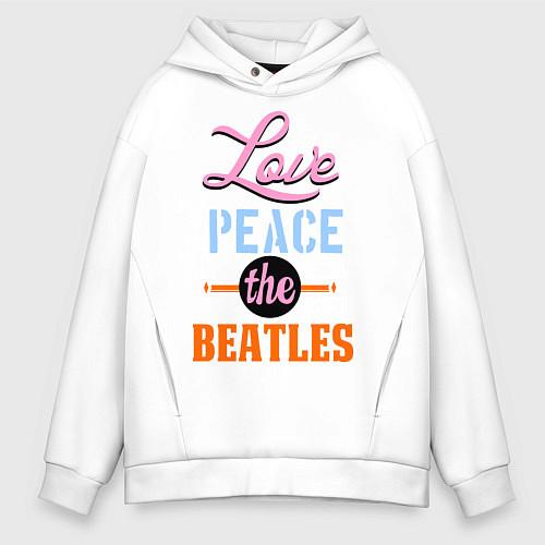 Мужское худи оверсайз Love peace the Beatles / Белый – фото 1
