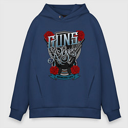 Толстовка оверсайз мужская Guns n Roses: illustration цвета тёмно-синий — фото 1