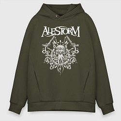 Толстовка оверсайз мужская Alestorm: Pirate Bay цвета хаки — фото 1