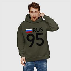 Толстовка оверсайз мужская RUS 95 цвета хаки — фото 2