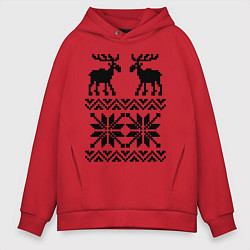 Толстовка оверсайз мужская Узор с оленями цвета красный — фото 1