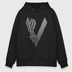 Толстовка оверсайз мужская Vikings цвета черный — фото 1