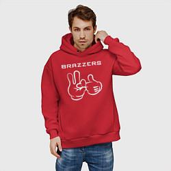 Толстовка оверсайз мужская Brazzers цвета красный — фото 2