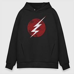 Толстовка оверсайз мужская The Flash logo цвета черный — фото 1