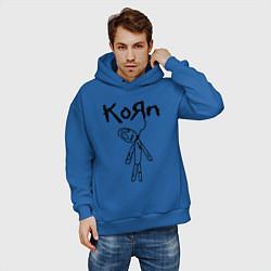 Толстовка оверсайз мужская Korn цвета синий — фото 2