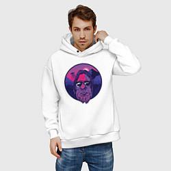 Толстовка оверсайз мужская Зона 51 НЛО и Снежный человек цвета белый — фото 2