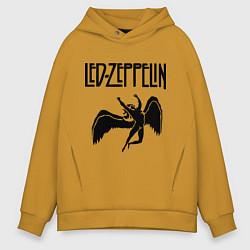 Толстовка оверсайз мужская Led Zeppelin цвета горчичный — фото 1