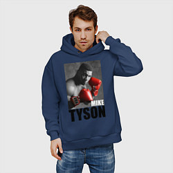 Толстовка оверсайз мужская Mike Tyson цвета тёмно-синий — фото 2