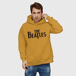 Толстовка оверсайз мужская The Beatles цвета горчичный — фото 2