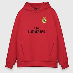 Толстовка оверсайз мужская Real Madrid: Fly Emirates цвета красный — фото 1