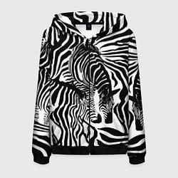 Толстовка 3D на молнии мужская Полосатая зебра цвета 3D-черный — фото 1