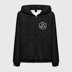 Толстовка 3D на молнии мужская Linkin Park: Black Carbon цвета 3D-черный — фото 1
