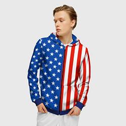 Толстовка 3D на молнии мужская American Patriot цвета 3D-синий — фото 2