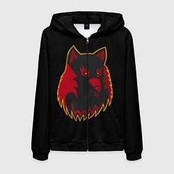 Толстовка 3D на молнии мужская Wolf Logo цвета 3D-черный — фото 1