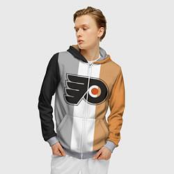 Толстовка 3D на молнии мужская Philadelphia Flyers цвета 3D-меланж — фото 2