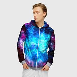 Толстовка 3D на молнии мужская Голубая вселенная цвета 3D-меланж — фото 2