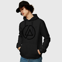 Толстовка-худи хлопковая мужская Linkin Park: Sybmol цвета черный — фото 2