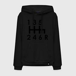 Толстовка-худи хлопковая мужская Коробка передач цвета черный — фото 1