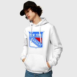 Толстовка-худи хлопковая мужская New York Rangers цвета белый — фото 2