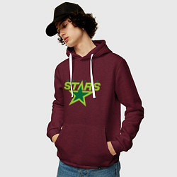 Толстовка-худи хлопковая мужская Dallas Stars цвета меланж-бордовый — фото 2