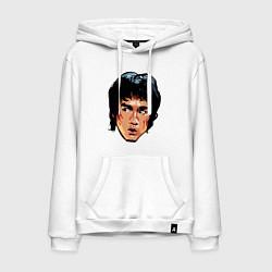 Толстовка-худи хлопковая мужская Bruce Lee Art цвета белый — фото 1