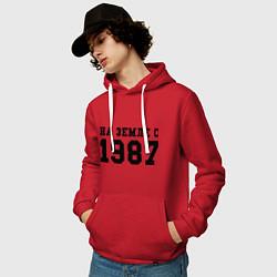 Толстовка-худи хлопковая мужская На Земле с 1987 цвета красный — фото 2