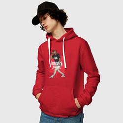 Толстовка-худи хлопковая мужская Kendrick Lamar цвета красный — фото 2