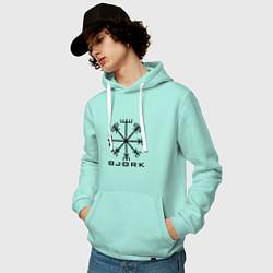 Толстовка-худи хлопковая мужская Bjork Rune цвета мятный — фото 2
