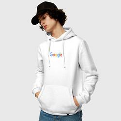 Толстовка-худи хлопковая мужская Google цвета белый — фото 2
