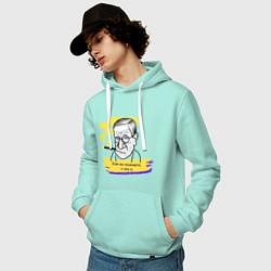 Толстовка-худи хлопковая мужская Фрейд: если вы понимаете о чем я цвета мятный — фото 2