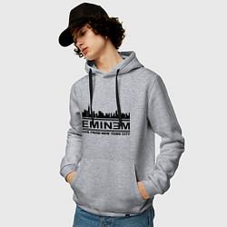 Толстовка-худи хлопковая мужская Eminem: Live from NY цвета меланж — фото 2