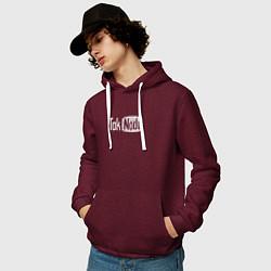 Толстовка-худи хлопковая мужская Taknado Youtube цвета меланж-бордовый — фото 2