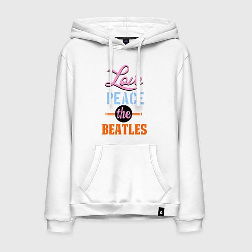 Мужская толстовка-худи Love peace the Beatles / Белый – фото 1