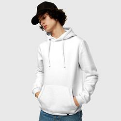 Толстовка-худи хлопковая мужская Ярлык картинки цвета белый — фото 2
