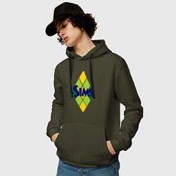 Толстовка-худи хлопковая мужская The Sims цвета хаки — фото 2