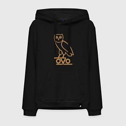 Толстовка-худи хлопковая мужская OVO Owl цвета черный — фото 1