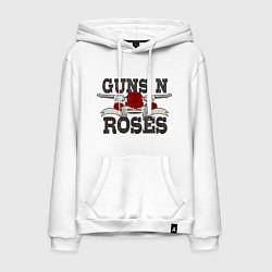 Толстовка-худи хлопковая мужская Guns n Roses: rock'n'roll цвета белый — фото 1