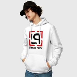 Толстовка-худи хлопковая мужская Linkin park цвета белый — фото 2