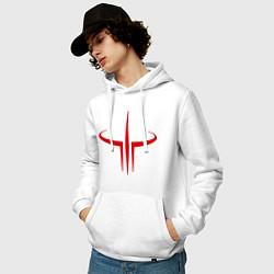 Толстовка-худи хлопковая мужская Quake logo цвета белый — фото 2